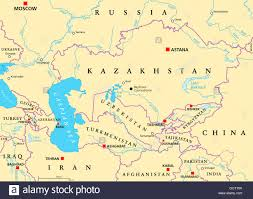 Map Of Asia With Capitals by Caucasus And Central Asia Political Map With Countries Their
