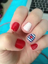 Nail Art Designs July 4 A Dainty Heart And Sparkles Make This Patriotic Manicure Something
