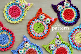 crochet owl coasters pattern no 058 zoom crochet