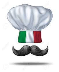 Flag That Is Green White And Red Italian Cooking And Food From Italy With A Chef Hat With The