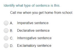 identifying a sentence as declarative imperative interrogative