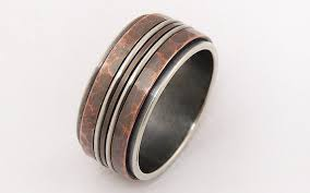 rustic mens wedding bands rustic mens ring silver copper ringmen engagement ringmen