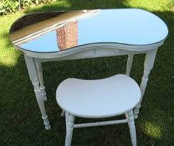 vintage vanity table with mirror and bench reserved for rich vintage kidney shaped vanity table w mirror top