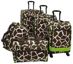 american flyer animal print 5 piece expandable spinner luggage set