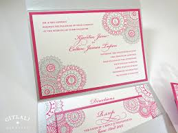 henna paisley teal gold pocket folder wedding invitations