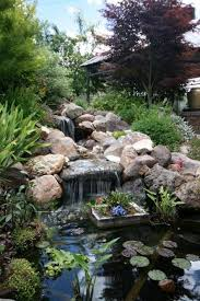 waterfalls backyard ponds with container plant relaxing