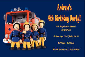 personalised fireman sam invitations