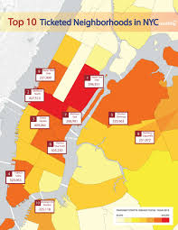 Nyc Neighborhoods Map Here Are The Top Ten Locations For Parking Tickets In New York