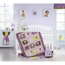 girls purple bedding bedroom dark brown stained wooden baby bric using black and
