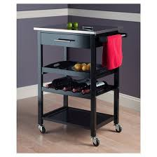kitchen islands with stainless steel tops anthony stainless steel top kitchen cart wood black winsome target