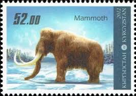 stamp woolly mammoth mammuthus primigenius kyrgyzstan