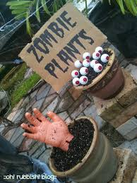 an outdoor halloween decoration idea or just zombie party