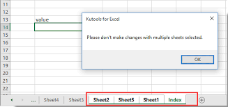 how to prevent selection of multiple worksheets in excel