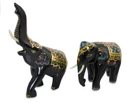handcrafted lacquered wood elephants pair beloved thai