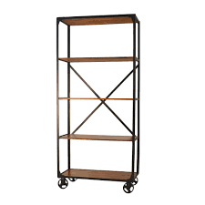 Iron And Wood Bookcase Carolina Forge Caileen Chestnut Metal And Wood Caster Bookcase