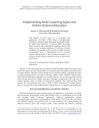aaron international styles implementing kolb s learning styles into pdf download available