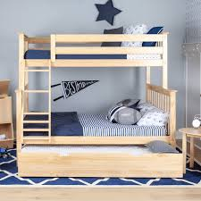 Bunk Beds Trundle Max Solid Wood Bunk Bed With Trundle Bed Reviews Wayfair