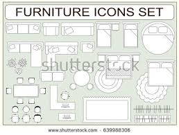 Desk Carpet Set Simple Furniture Vector Icons Design Stock Vector 639988306