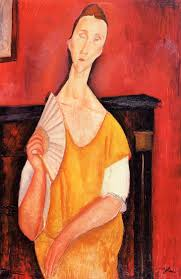 Woman With A Fan Lunia Czechowska 1919 By Amedeo Modigliani