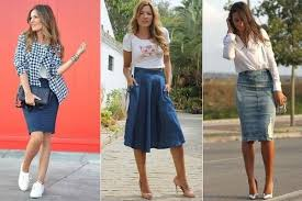 what kind of tops look good with knee length jeans skirts updated