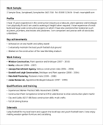 Tradesman Resume Template Sample Construction Resume 9 Examples In Word Pdf