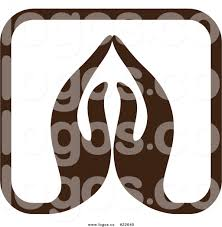 royalty free vector logo of praying within a square by