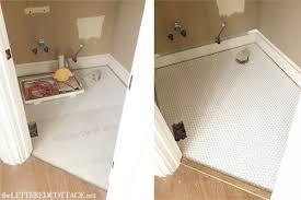 half bath half bath update tile and wood the lettered cottage