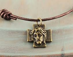 crown of thorns necklace crown of thorns bronze jesus cross necklace adjustable knotted