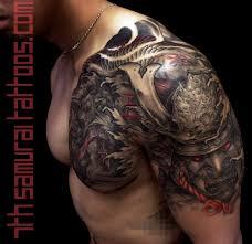 chest and shoulder tattoo samurai arowana and fudog with red highlights kai 7th samurai mens