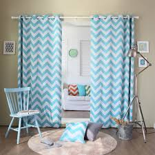 Fascinating Curtains For Narrow Bedroom Windows With Blue And chevron printed room darkening grommet curtains blue color with