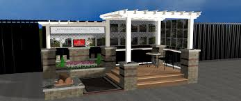 Unilock Patio Designs by Our Booth Will Highlight A Stunning Deck And Pergola Combination A