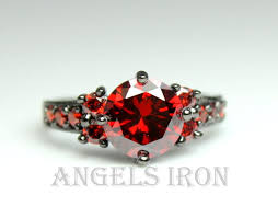 red jewelry rings images Black engagement ring gold filled hydro ruby red wedding jpg