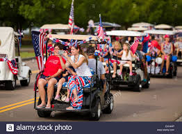 Golf Cart Flags Golf Cart Decorated With Bunting And American Flags During The