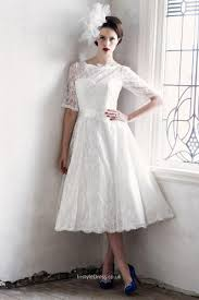 wedding dresses with sleeves uk illusion neck ivory lace tea length wedding dress with