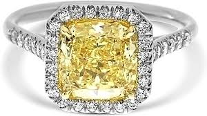 2 64ct cushion cut fancy yellow diamond engagement ring ydcr5327