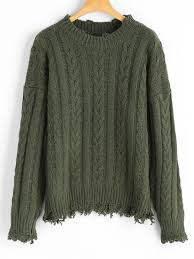 distressed cable knit sweater army green sweaters one size zaful
