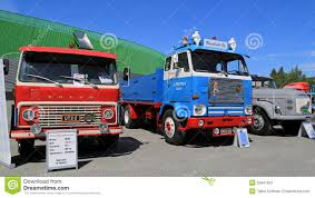 volvo truck of the year three classic volvo trucks from 60s and 70s editorial stock photo