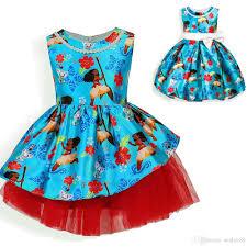 2017 new girls moana dresses tropical ocean fancy printed dress