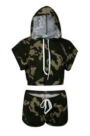 army pattern crop top ladies women army camouflage print sleeveless hooded crop top
