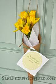 serendipity refined blog spring paper flower cone door decor