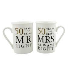 golden wedding anniversary gifts 50th golden wedding anniversary mr mrs mug set gift 50 years