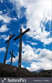 religious symbols crosses silhouette against blue sky stock