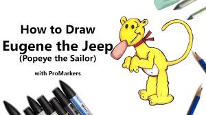 jeep cartoon drawing how to draw and color eugene the jeep from popeye the sailor with