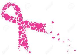 pink ribbon made of hearts vector breast cancer ribbon awareness