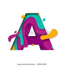 paper cut letter a 3d stock vector 679042483