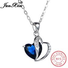 sted necklace 925 sterling silver blue sapphire heart pendant chain