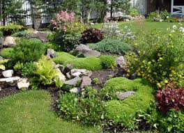 River Rock Garden backyard with river rock walkway and small shrubs landscaping