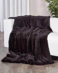 Pottery Barn Fur Blanket Chocolate Brown Knit Rex Rabbit Fur Throw Fursource Com