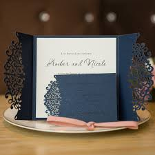 wedding invitations navy formal navy blue laser cut wedding invitation cards with band