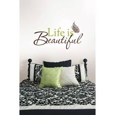 wallpops 3 5 in x 2 in life is beautiful quote wall decal life is beautiful quote wall decal wpq96853 the home depot